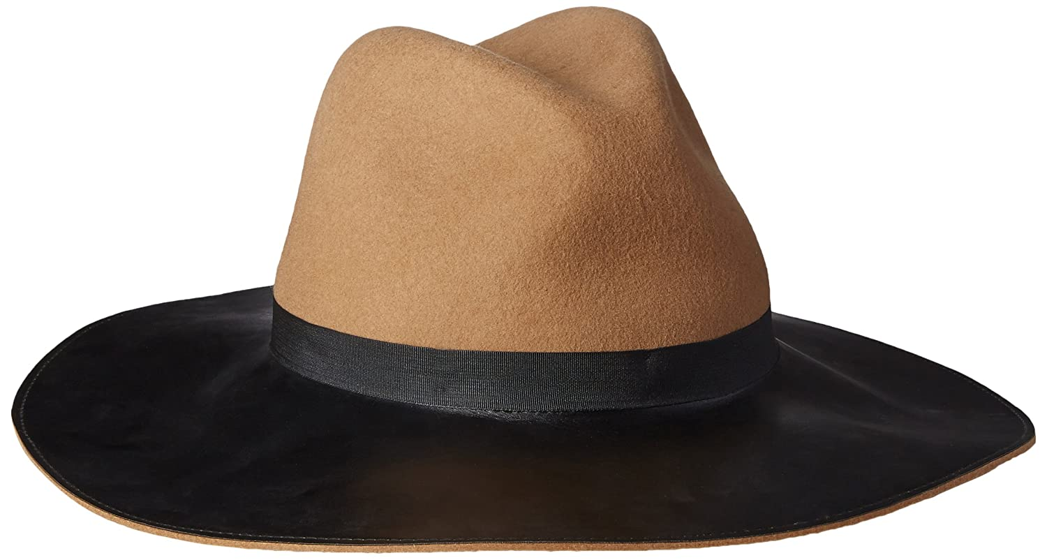 ff62375d4da66 Women s Miss Mei Wide Fedora Hat with Faux Leather Brim at Amazon Women s  Clothing store