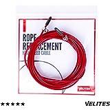 Cable de repuesto para comba de saltar de Crossfit, Fitness y Boxeo por VELITES | PVC Rojo y acero de 2.5 mm | Para inciación a los saltos dobles | Compatible con otras marcas.