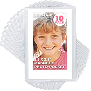 Clear Magnetic Picture Frames for Refrigerator, 2.5 x 3.5 (Wallet size) Pack of 10, Freez-A-Frame