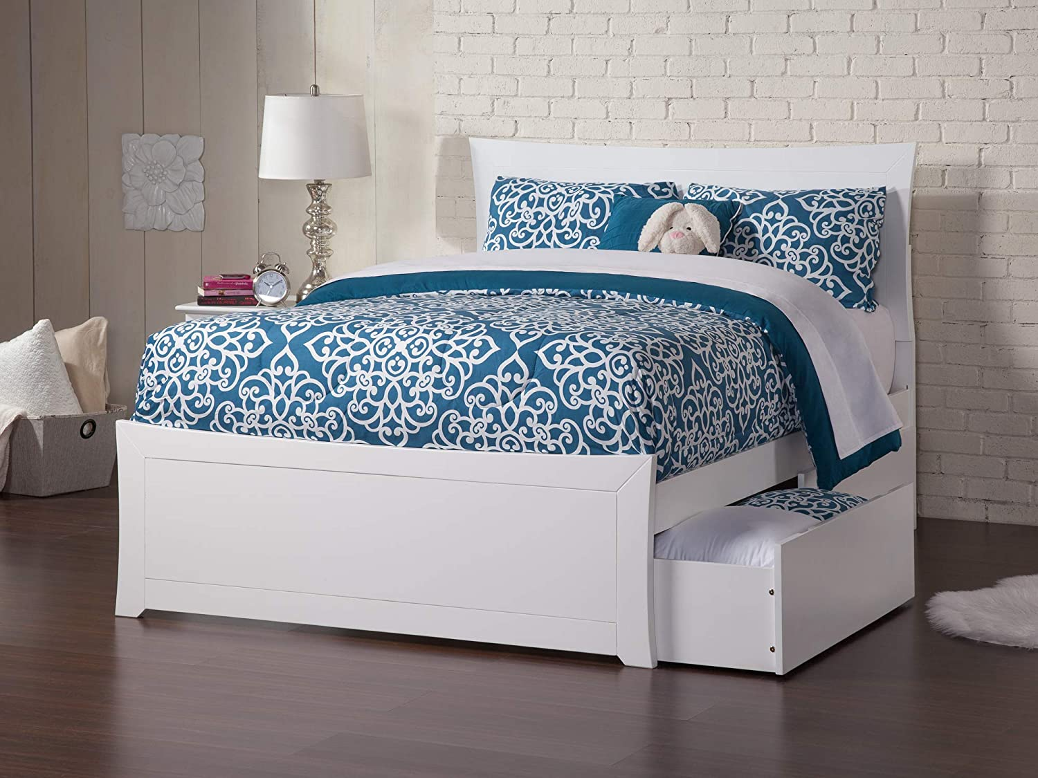 Atlantic Furniture AR9036112 Metro Platform Bed with Matching Foot Board and 2 Urban Bed Drawers, Full, White