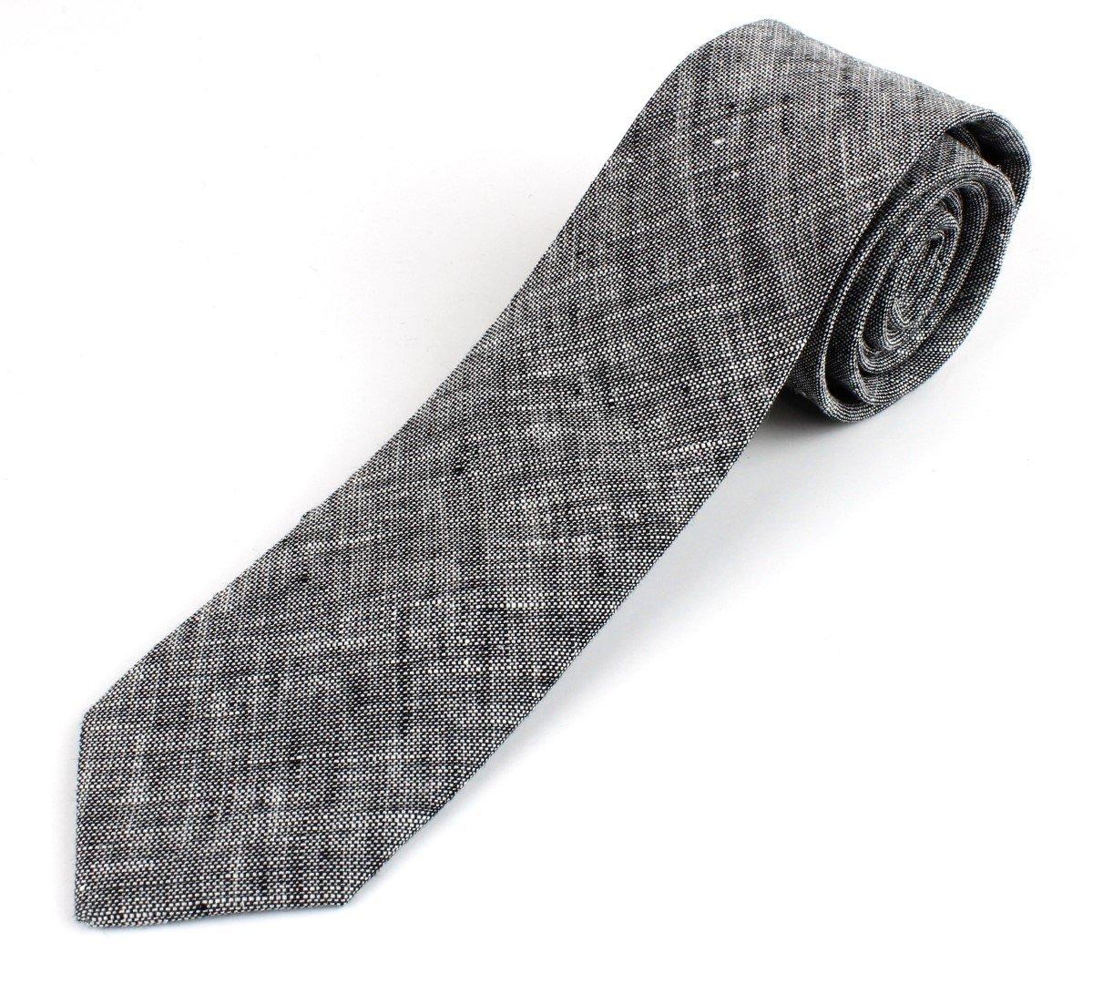 Men's Cotton Linen Skinny Necktie Tie Sand Wash Solor Color Pattern - Black