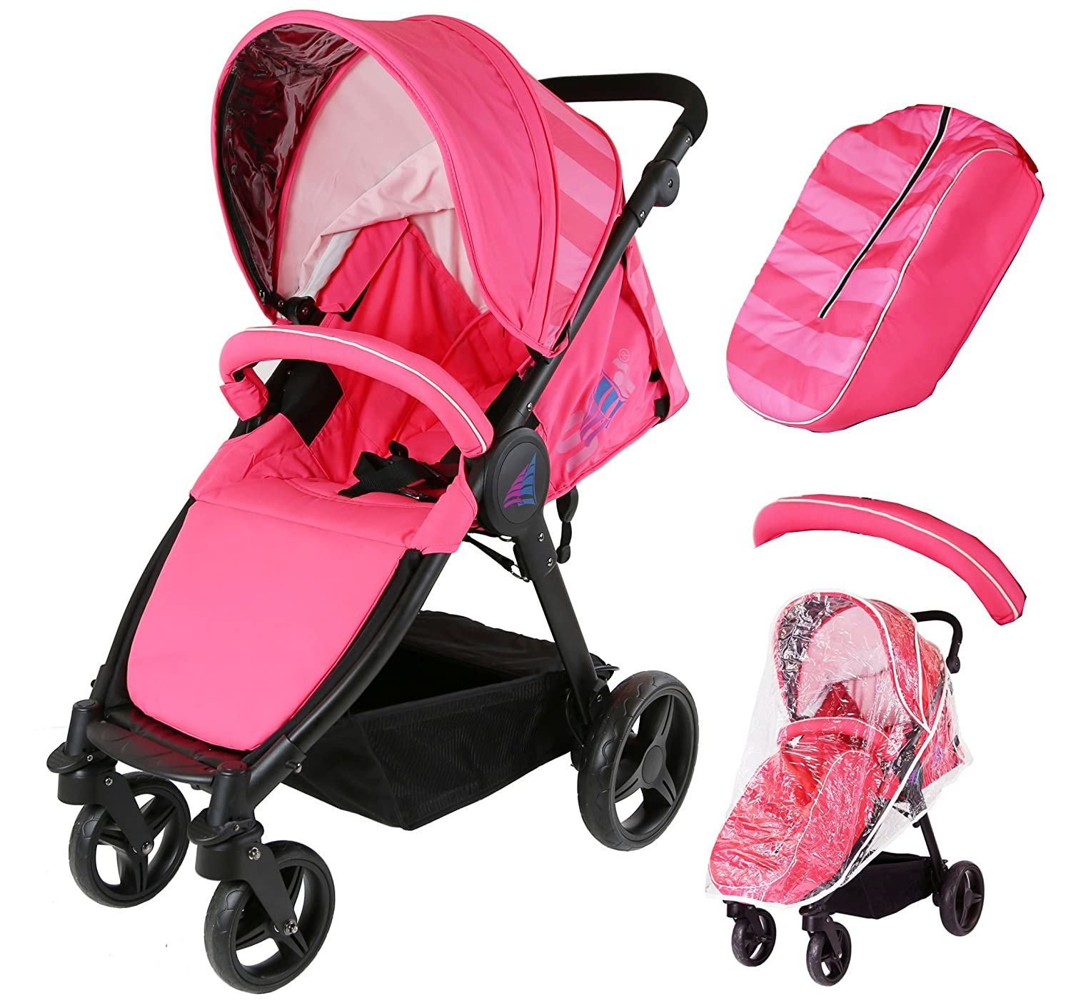 Sail Stroller - Pink Raspberry Includes Bumper Bar Rain cover Bootcover