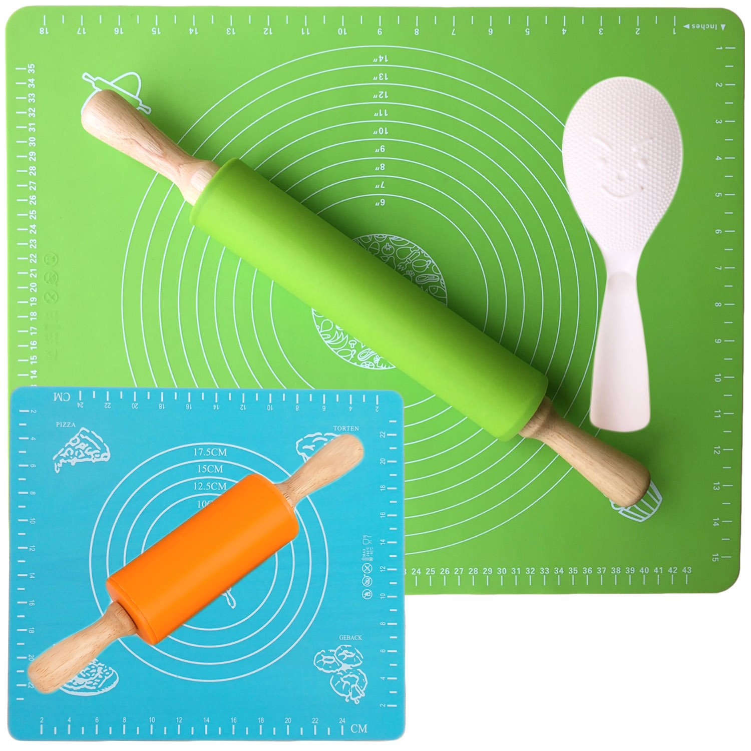 Rolling Pin - Usparkle Nonstick Silicone Rolling Pin 16.9'' - Thick Large Silicone Pastry Mat 15.7'' X 19.7'' (Rolling Pin Set - L - Kids' Option 1)