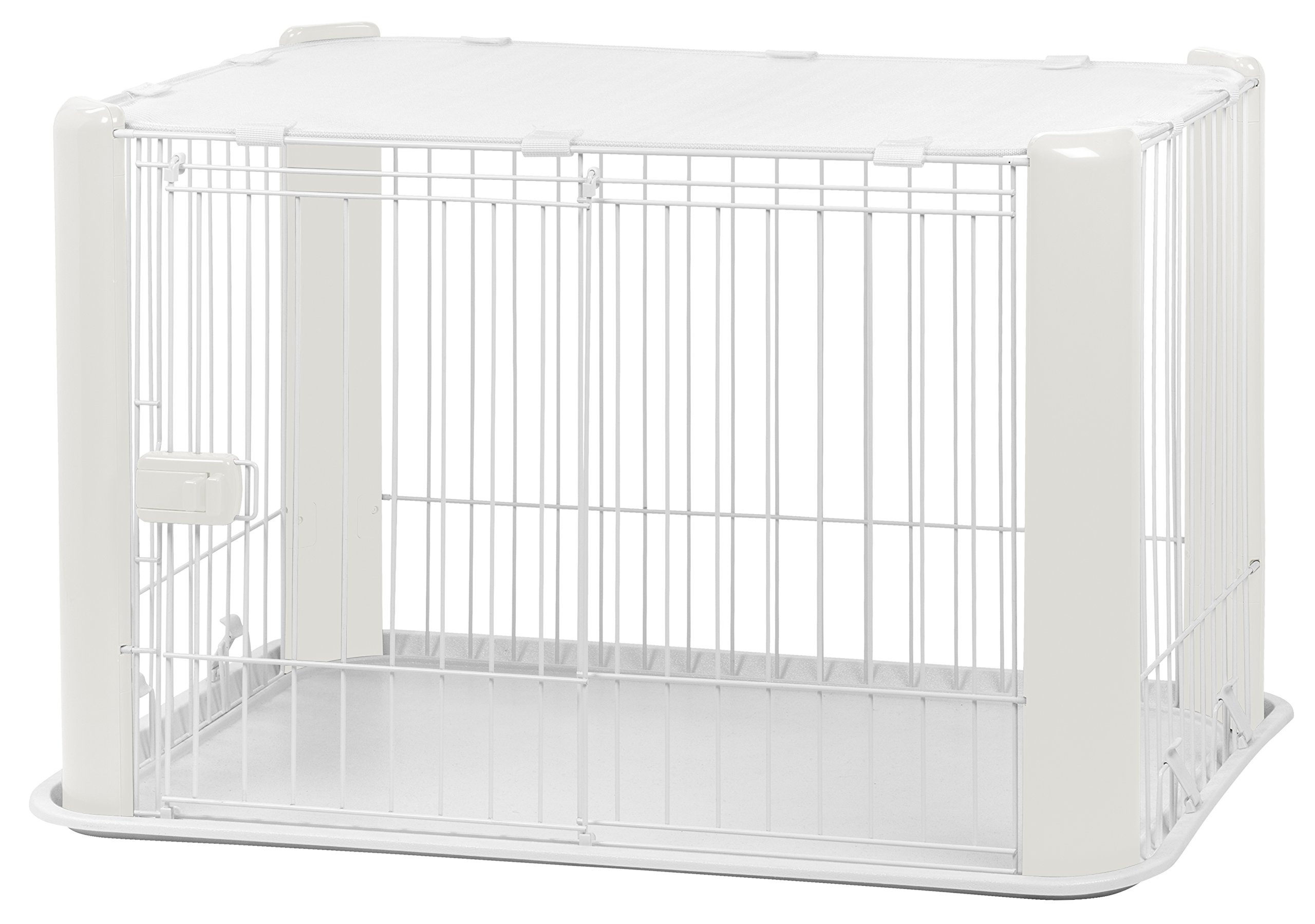 IRIS Small Wire Dog Crate with Mesh Roof, White