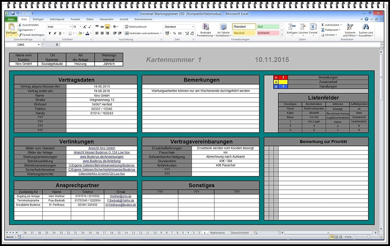 Wartungsplan Vorlage Excel Kostenlos 20 Erstaunlich 9