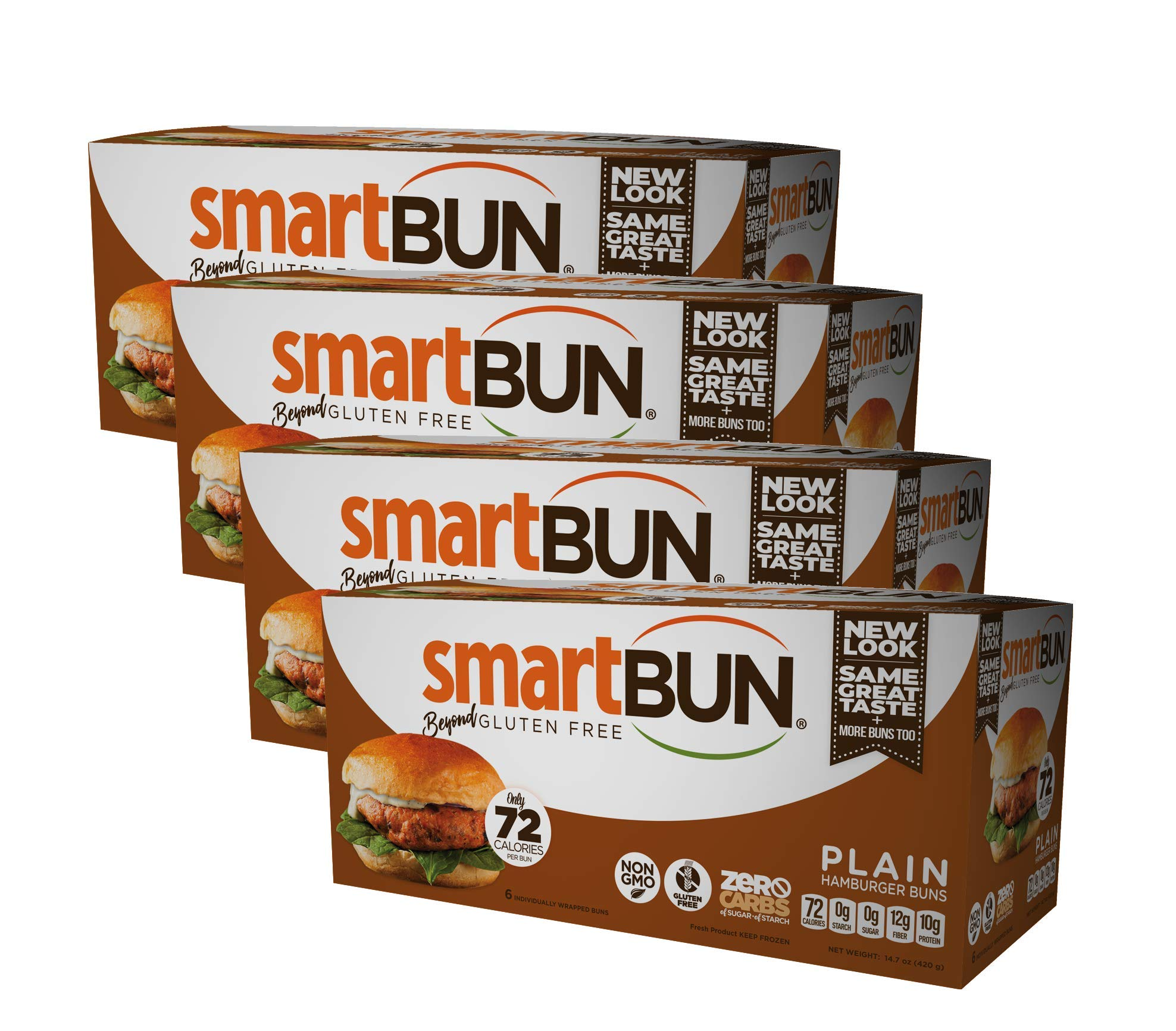 Plain Smartbun Gluten Free, ZERO CARB of sugar of starch, Hamburger Buns- 24 pack by SmartBUN