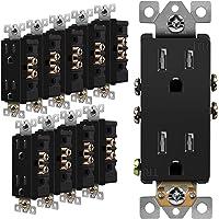 ENERLITES Decorator Receptacle Outlet, Tamper-Resistant, Residential Grade, 3-Wire, Self-Grounding, 2-Pole, 15A 125V, UL…