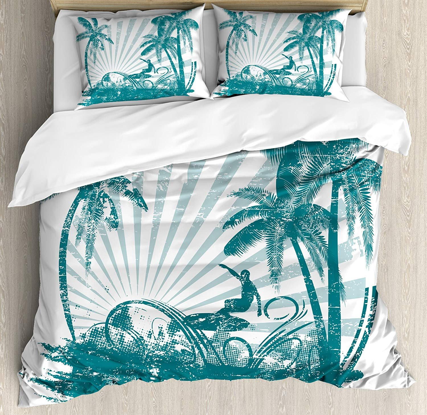 Twin XL Extra Long Bedding Set, Ride The Wave Duvet Cover Set, Grunge Tropical Scene with Man Surfing Surreal Sports Adventure Illustration, Include 1 Flat Sheet 1 Duvet Cover and 2 Pillow Cases