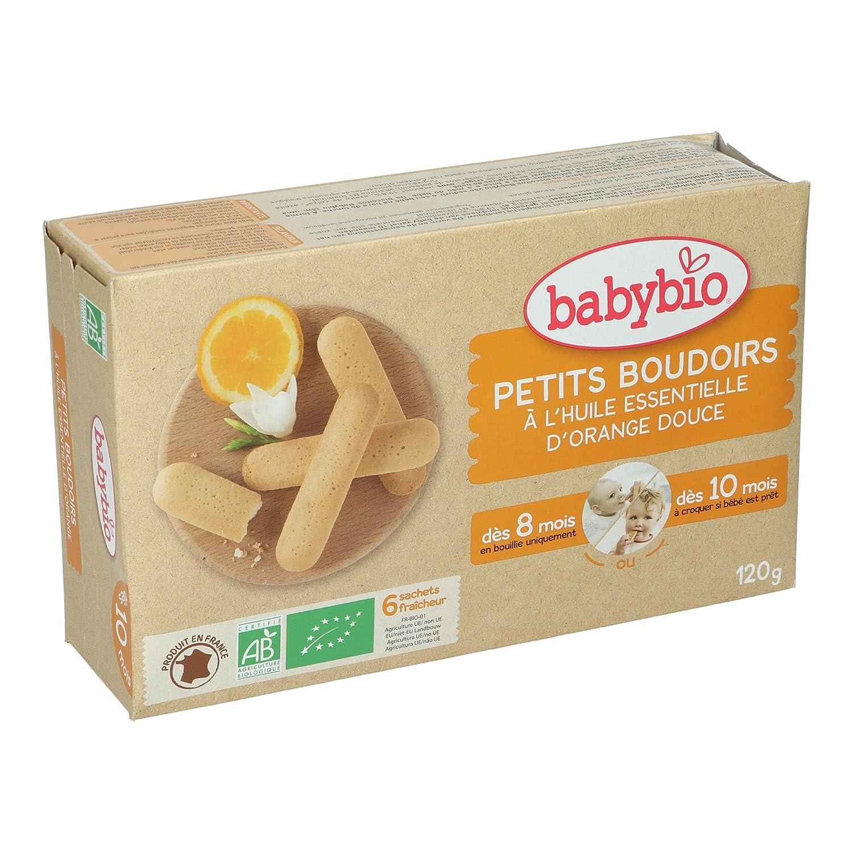 BabyBio Petits Boudoirs- Galletas de dentición con aceite esencial de naranja dulce - BIO - 120 g: Amazon.es: Alimentación y bebidas