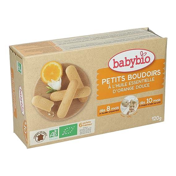 BabyBio Petits Boudoirs- Galletas de dentición con aceite esencial de naranja dulce - BIO -