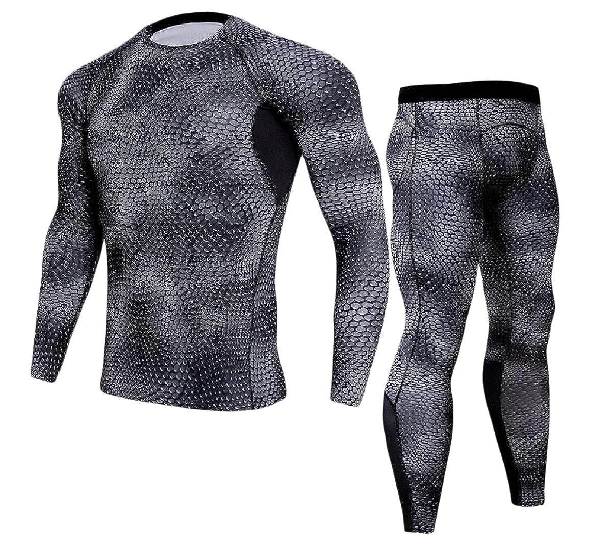 Vska Men 2 Piece Set Long Sleeve Quick Dry Bodycon Base Layer Underwear