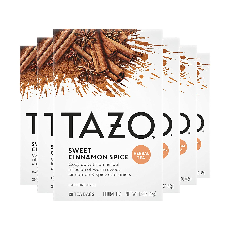 Tazo Herbal Tea Bags for a Classic Warm Beverage Sweet Cinnamon Spice Caffeine Free 20 Tea Bags, Pack of 6