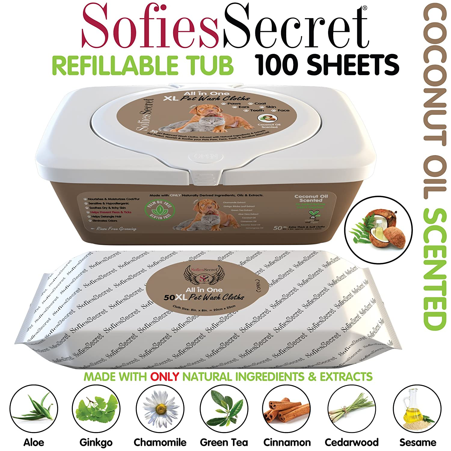 SofiesSecret XL PET WIPES, COCONUT SCENTED, All In One Grooming, for Paws, Coat, Skin, Face, Ears and Teeth, 100% Natural & Organic Extracts, Extra Thick, Extra Large Cruelty Free and Vegan Moist Towel Services