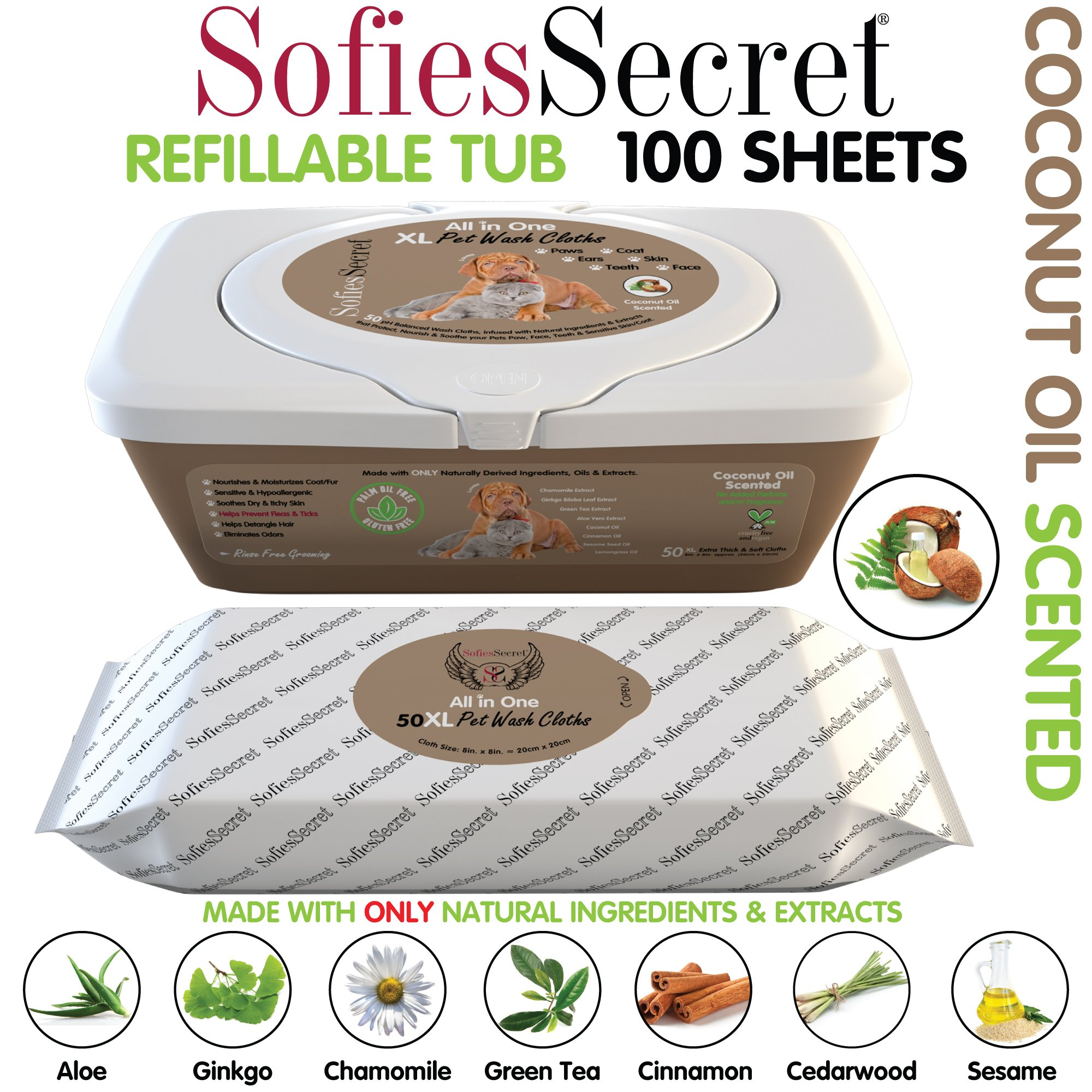 SofiesSecret XL PET WIPES, COCONUT SCENTED, All In One Grooming, Tub 100 Count for Paws, Coat, Skin, Face, Ears and Teeth, 100% Natural & Organic Extracts Extra Thick, Extra Large Cruelty Free & Vegan