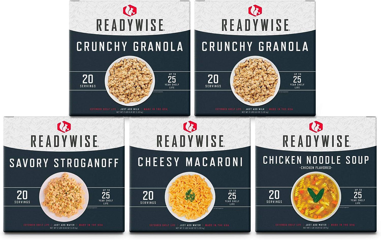 ReadyWise Emergency Food Breakfast & Entrée Box Kit | 100 Servings