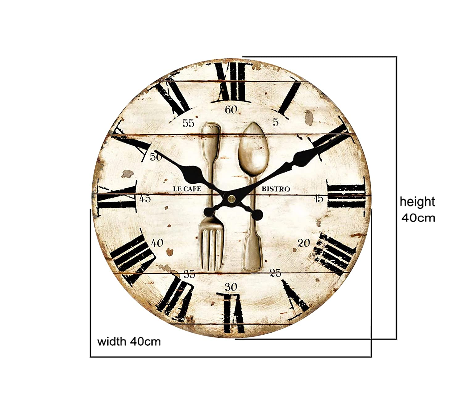 Amazon.com: Upuptop Vintage Retro Style Spoon Fork Bistro Home Kitchen Decorative Wooden Round Wall Clock Restaurant 16inch: Kitchen & Dining