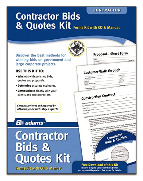 amazon com adams contractor bids and quotes kit forms and