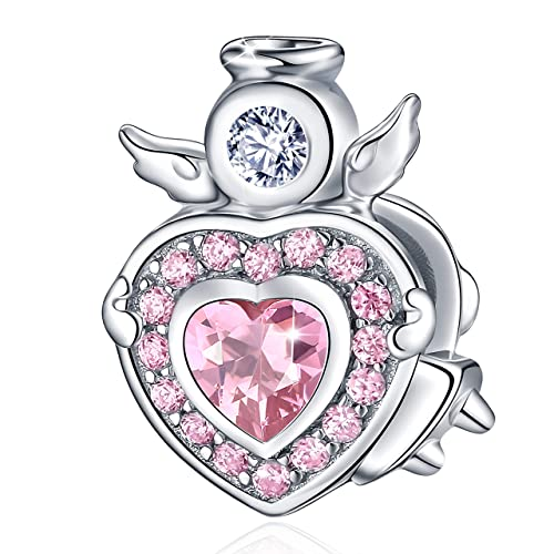 89b9896e4 FOREVER QUEEN Angel Charms for Bracelet Necklace, 925 Sterling Silver Angel  Wings Heart Bead Charms