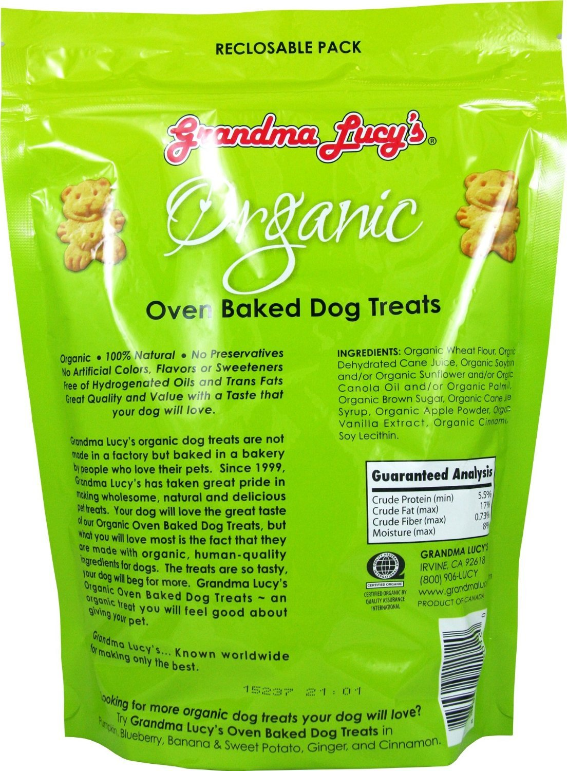 GRANDMA LUCY S Organic Baked Treat for Dogs, Mixed 3 Packs x 14 Oz – Apple, Pumpkin and Blueberry Flavors