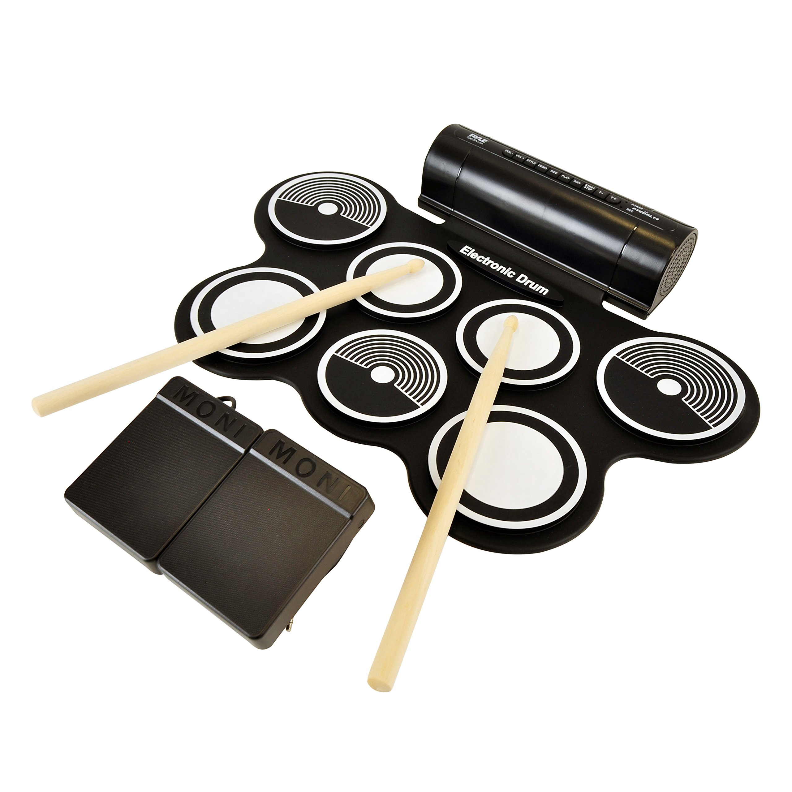 Pyle Electronic Roll Up MIDI Drum Kit W/ 7 Electric Drum Pads, Built-In Speakers, Foot Pedals, Drumsticks, & Power Supply Tabletop Roll Up Drum Kit | Loaded W/ Drum Electric Kits & Songs by Pyle
