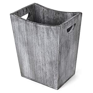 BTY Farmhouse Wooden Trash Can, Small Square Wastebasket Garbage Container Bin Holder, Rustic Torched Home Kitchen Office Trash Cans with Handle for Living Room, Dorm - Gray Green