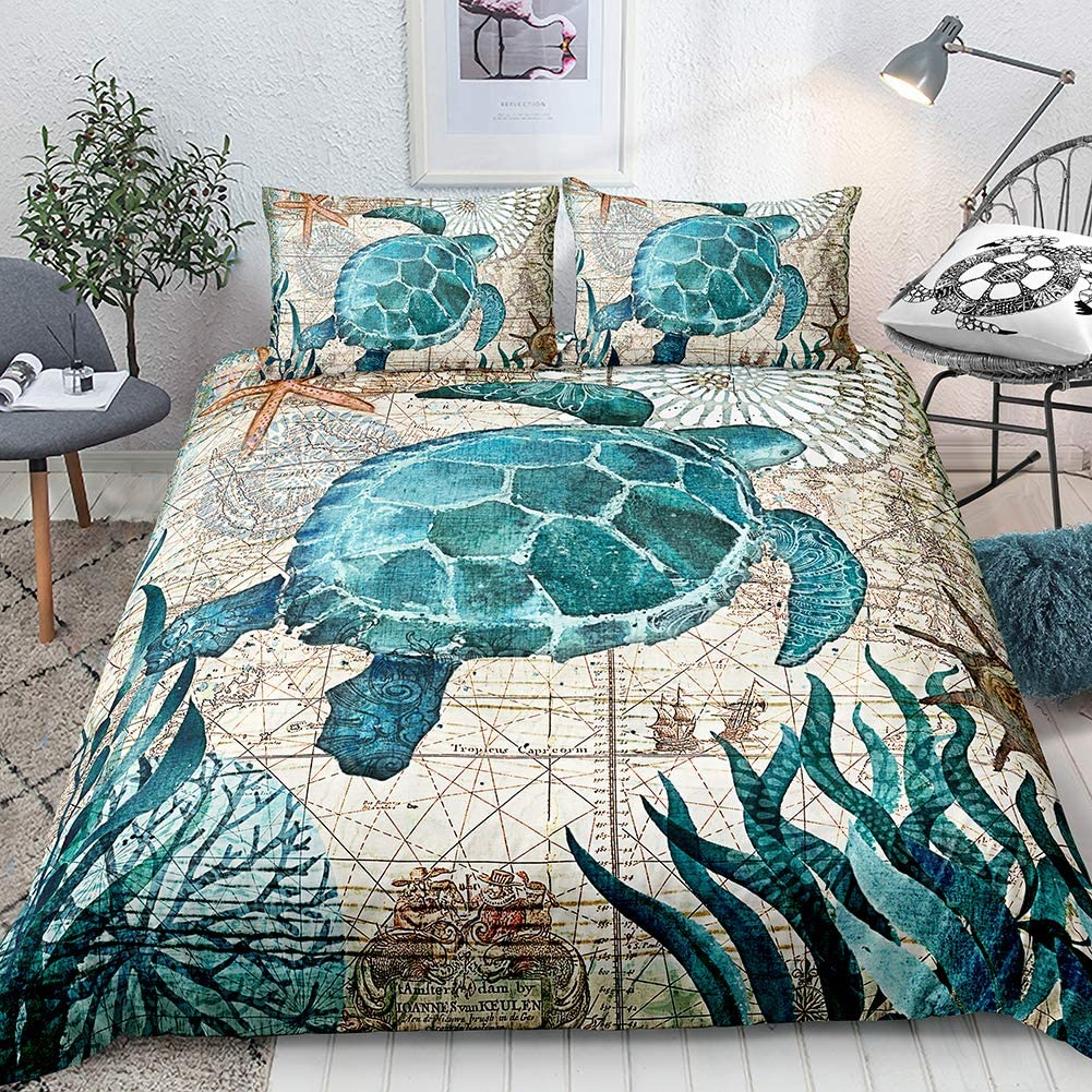 Turtle Bedding Teal Turtle Duvet Cover Set Aqua Turquoise Ocean Themed Mediterranean Style Design Marine Tortoise Quilt Cover Queen 1 Duvet Cover 2 Pillowcases (Queen, Turtle)