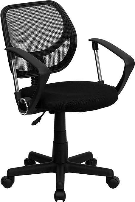 Black Office Chairs - u0026quot;Aurorau0026quot; Petite Low Back Mesh Office Chair  sc 1 st  Amazon.com & Amazon.com: Black Office Chairs -