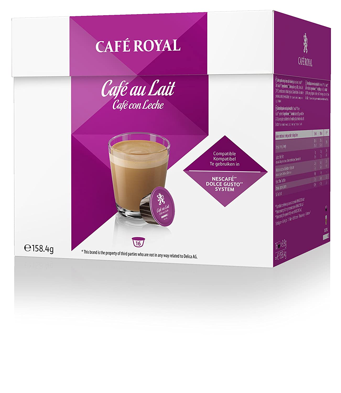 Café Royal Café au Lait 48 cápsulas compatibles con Nescafé* Dolce Gusto* (Pack de 3 x 16 cápsulas): Amazon.es: Alimentación y bebidas
