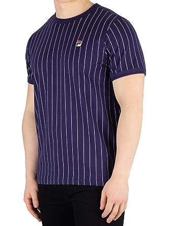 ca4fa21bd2 Fila Vintage Men's Guilo Stripe T-Shirt, Blue | Amazon.com