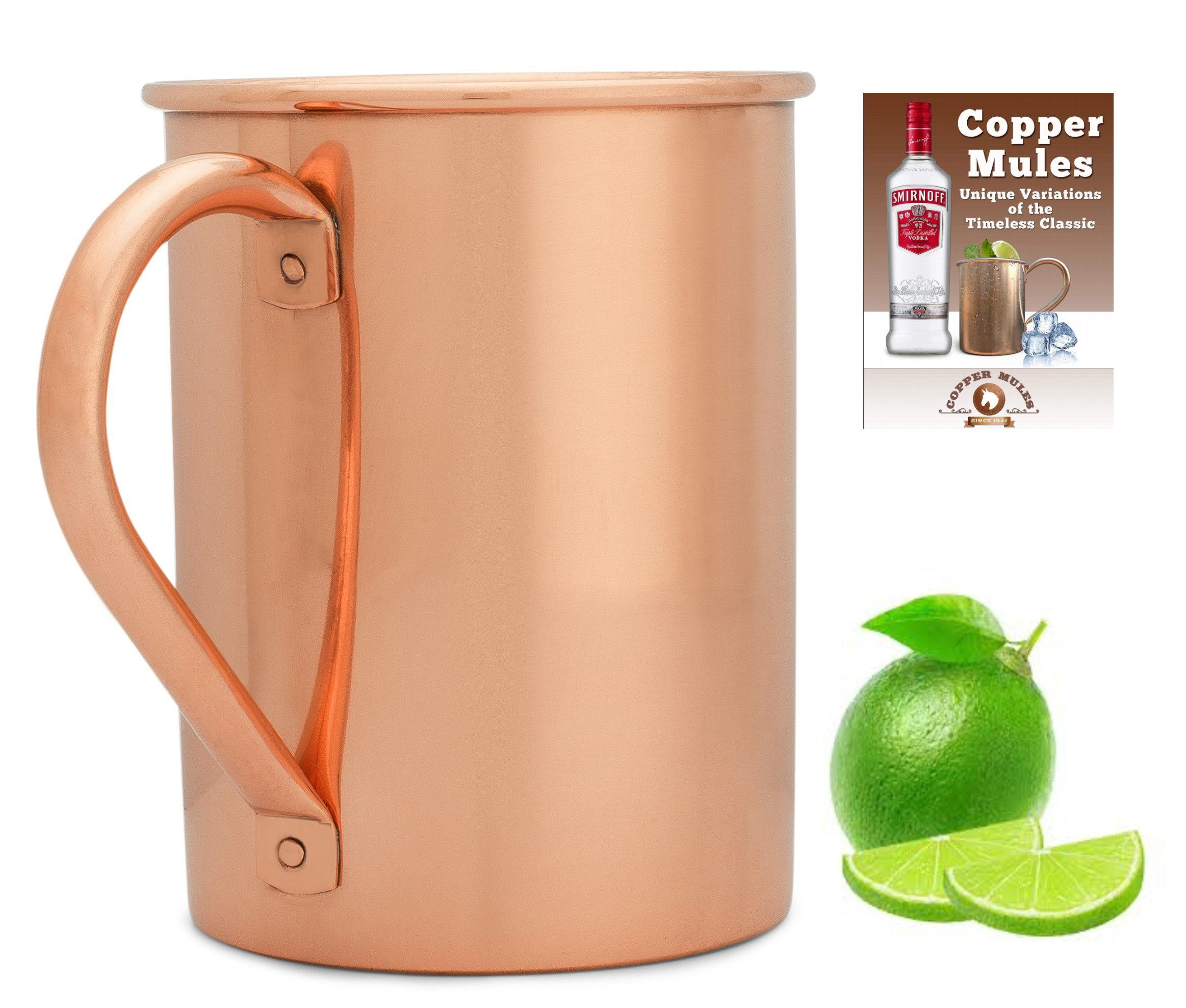 Moscow Mule Copper Mug by Copper Mules – Handcrafted from 100% Pure Copper - Smooth Finish - No Liner for Ayurveda Health - Riveted Handle for Strength - Holds 16 oz – BONUS eBook
