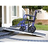 "Clevr 6' (72"" X 31"") Extra Wide Non-Skid Traction Aluminum Wheelchair Scooter Loading Ramp, Lightweight Folding Portable, Holds Up to 600 lbs"
