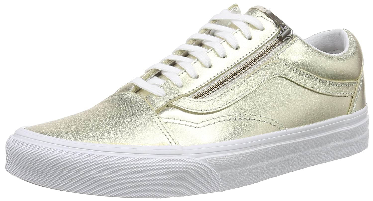 Vans Unisex-Erwachsene Old Skool Zip Low-Top  40 EU|Gold (Metallic Leather/Wheat Gold/True White)