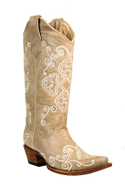 72f617772c5 Corral Circle G Women's 13-inch Bone Embroidery Light Distressed Snip Toe  Pull-On Cowboy Boots