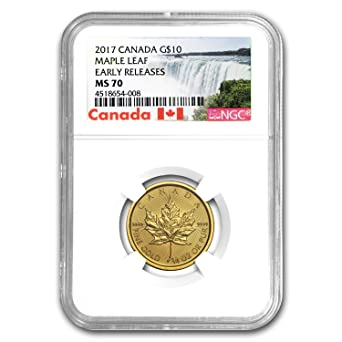 2017 CA Canada 1/4 oz Gold Maple Leaf MS-70 NGC ER (1/4) MS-70 NGC