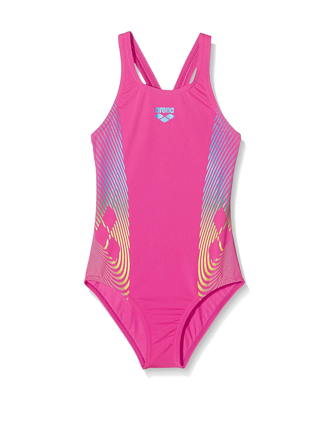 f84ab39ebaab2 Arena Girls Espiral One Piece - Rose   Green - Age 6 to 7  Amazon.co.uk   Sports   Outdoors
