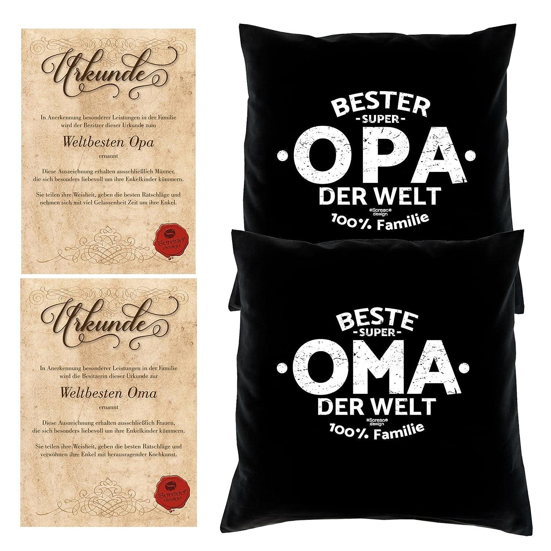 Soreso Design Geschenke Set Oma Opa 2 Motiv Kissen mit Füllung Oma der Welt Opa der Welt Größe 40x40 cm dazu 2 passende Urkunden B079423SNG Zierkissen