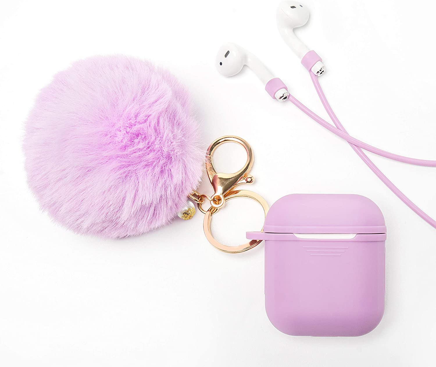 Gary for Apple Airpod 1/&2 Airpods Case Cover Protective Case, Anti-Lost Strap, Fur Ball Keychain LEWOTE Airpods Silicone Cute Accessories