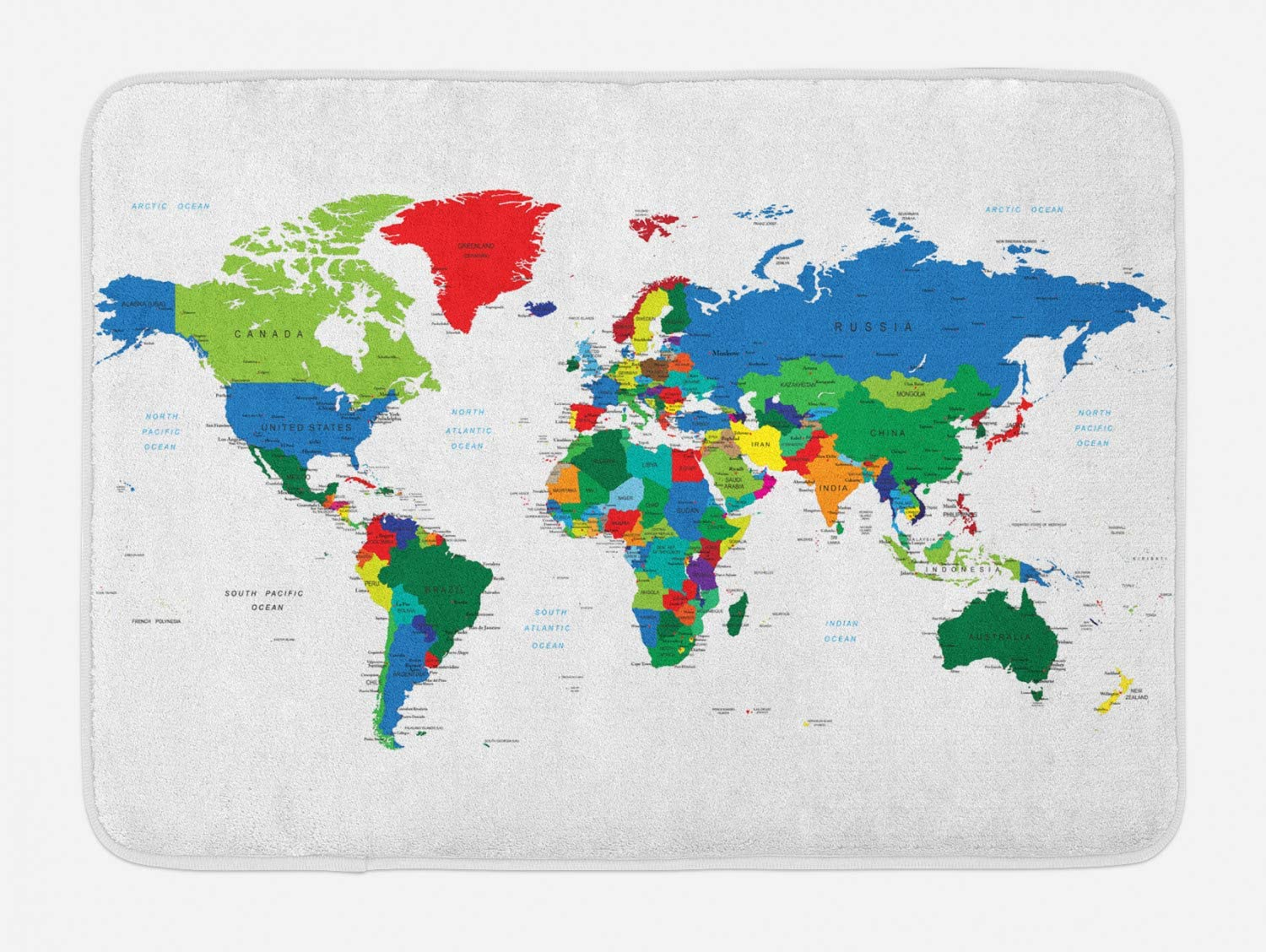 "Ambesonne World Map Bath Mat, Colorful Political Map Borders Between Countries Different Nations and Cultures, Plush Bathroom Decor Mat with Non Slip Backing, 29.5"" X 17.5"", White Red"