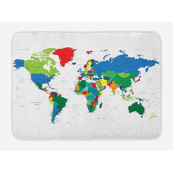 The World Map Globe Blue Earth Fabric Shower Curtain Digital Art Bathroom