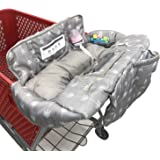 Soft Pillow Attached Waterproof 2-in-1 Baby Grocery Cart Seat Cover and High Chair Cover - Grey Arrow