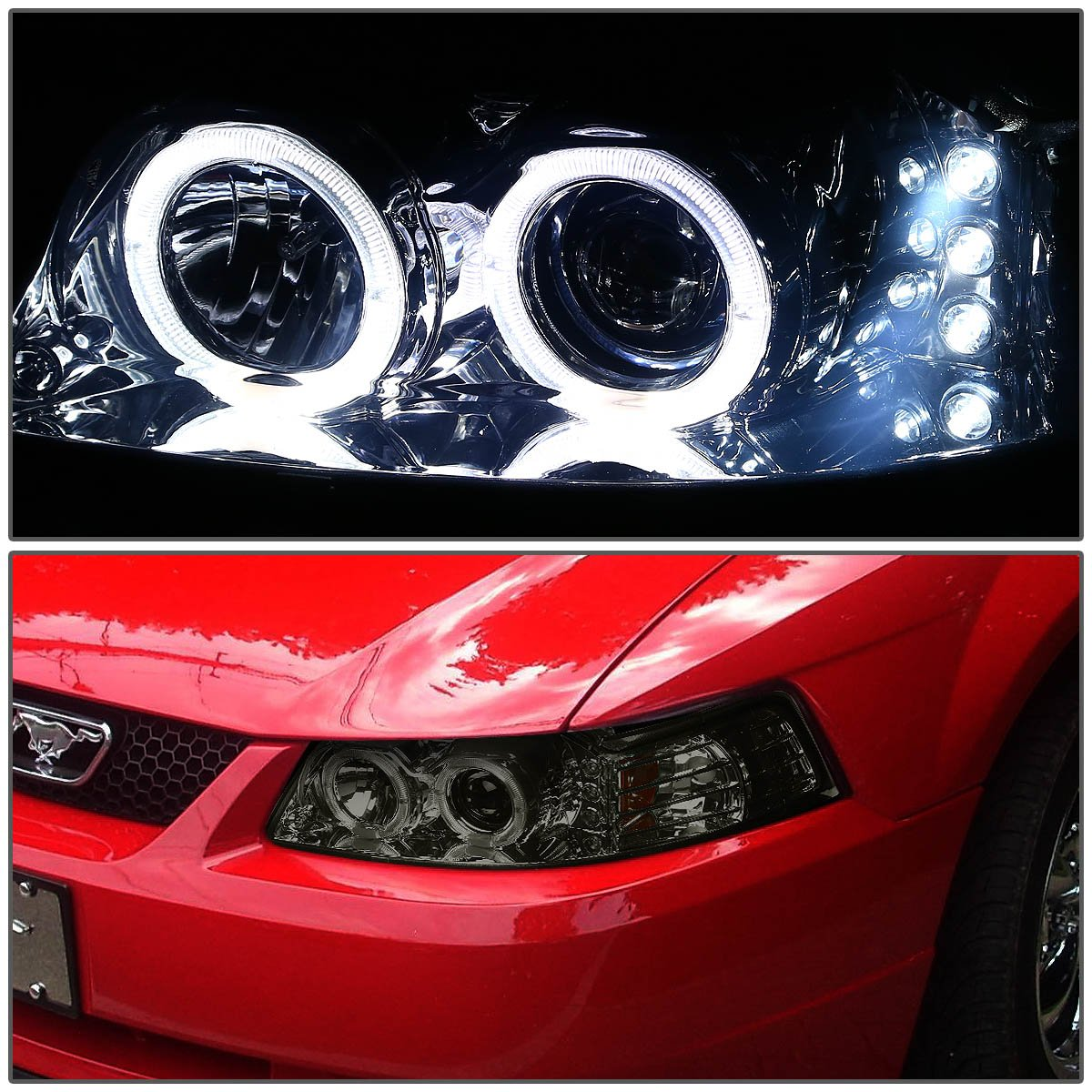 Amazon.com: For Ford Mustang Smoked Lens Amber Corner SN-95 Dual Halo  Projector+LED Headlight: Automotive