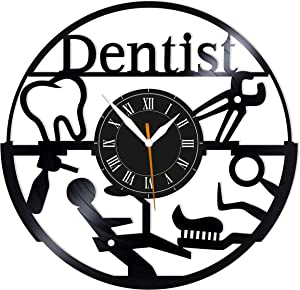 "Leooolukkin Dentist Vinyl Clock, Dental Clinic Wall Clock 12"", Original Gifts for Fans Dentist, The Best Home Decorations"