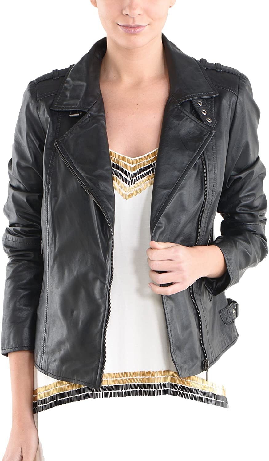 100/% New Genuine Leather Lambskin Women Biker Motorcycle Jacket Ladies LFWN217