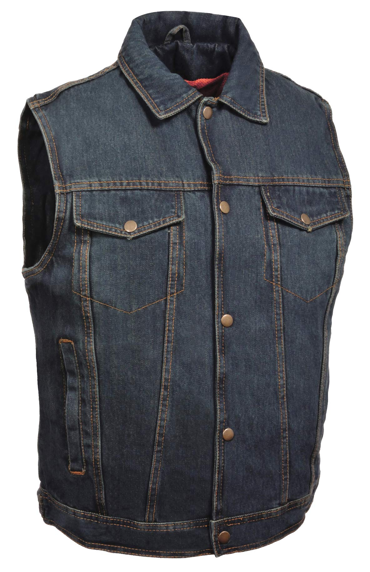 ZOOM LEATHER-Men's Snap Front Denim Vest w/Shirt Collar-BLUE-LG