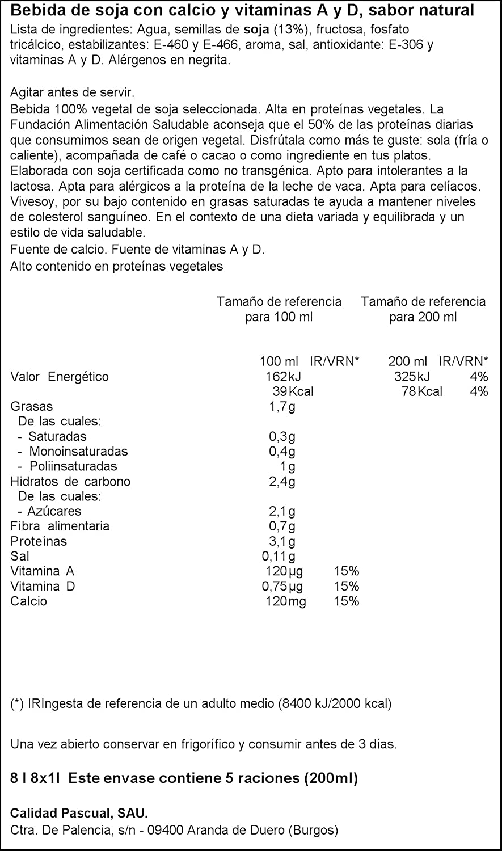 Vivesoy Sabor Natural - Pack de 8 x 1 l - Total: 8000 ml: Amazon.es: Amazon Pantry