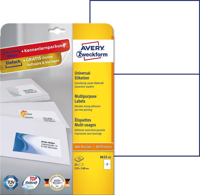 Avery Zweckform 6176Etichette universali (, formato A4, 50Etichette, 210X 148mm) Bianco 20 etichette 10 Blatt Avery Tico Srl 3655-10