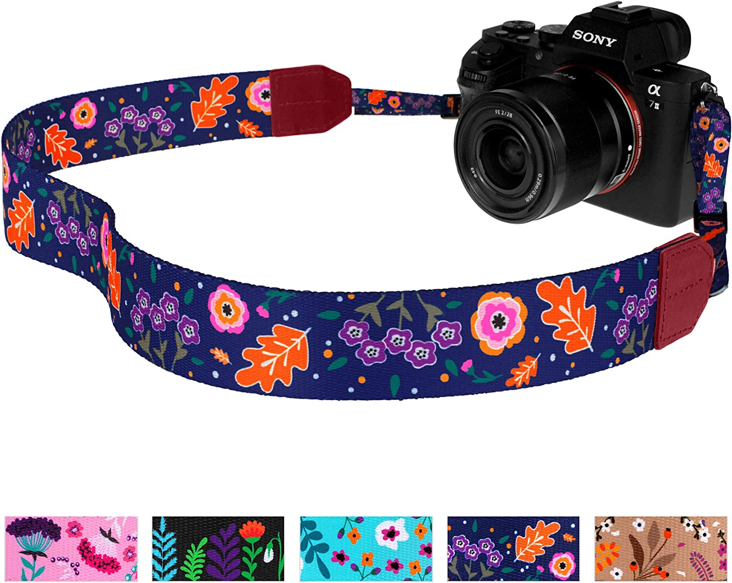 Pawia Floral Camera Neck Shoulder Strap for Women Universal DSLR Camera Accessories Belt for Canon Nikon Sony Fuji Lumix Olympus Navy Blue