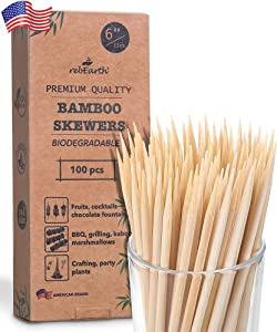 "6"" Natural Bamboo Skewers for BBQ (100 pcs) ,Appetizer,Fruit,Cocktail,Kabob,Chocolate Fountain,Grilling,Barbecue,Kitchen,Crafting and Party (6)"