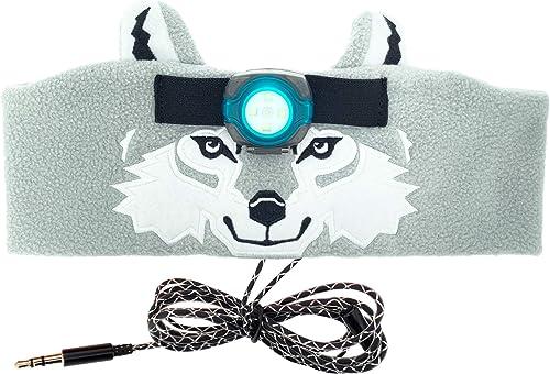 Sun Company WildLight Headband Headlamp Headphones – Fleece Headband with Bright LED Head Lamp and Headphones for Kids Fun Toy Headlight for Camping and Travel Wolf