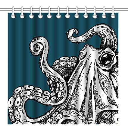 Wknoon 72 X Inch Shower Curtain Set Vintage Sea Monster Cool Octopus Tentacles Abstract